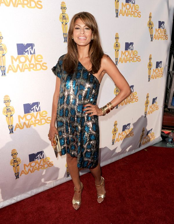 Eva Mendes photographed on the red carpet at the 2010 MTV Movie Awards in Los Angeles.