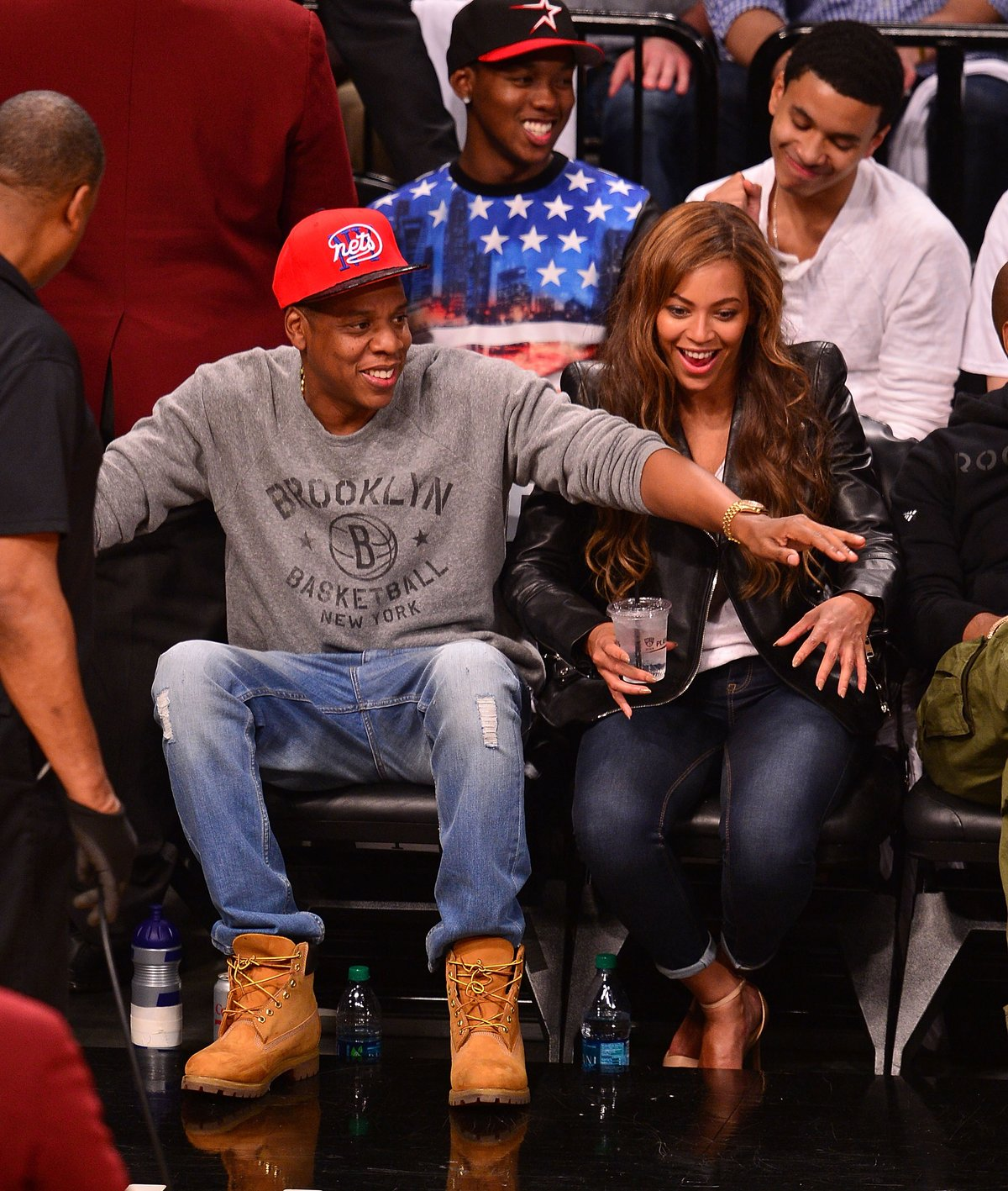 Jay Z and Beyonce at the Nets game on May 2, 2014.