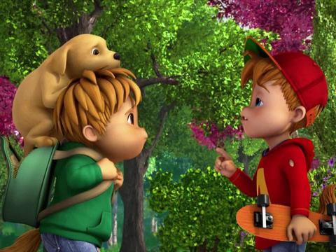 Theodore y Alvin encuentran un perro