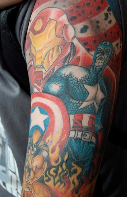 43 avengers tattoos is this earth 39 s mightiest ink mtv for Marvel comics tattoos