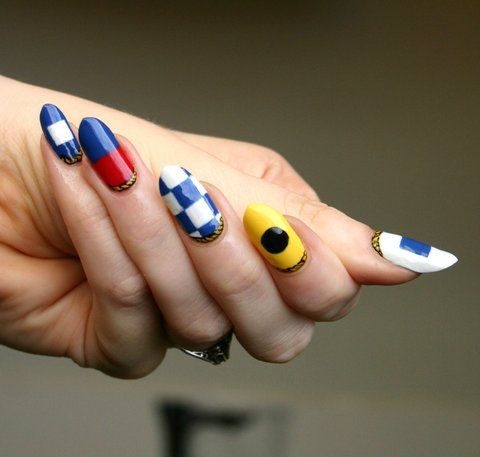 Maritime signal flags nail art