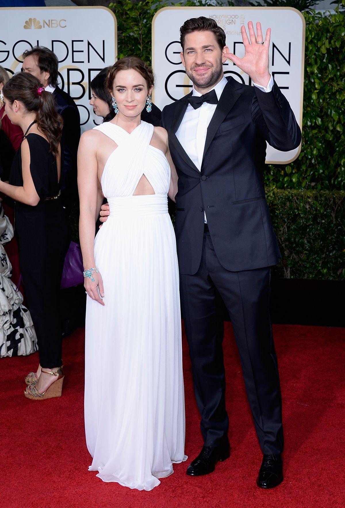 Emily Blunt and John Krasinski at 2015 Golden Globes