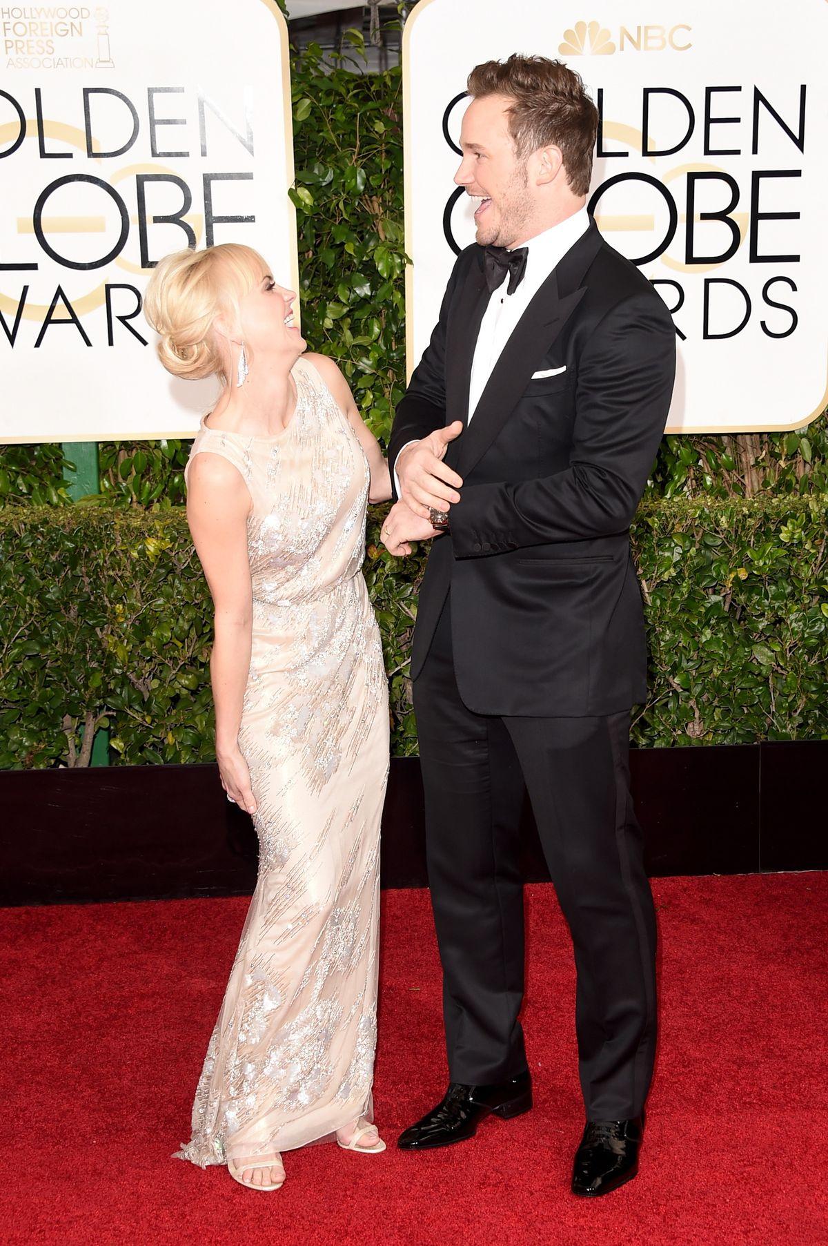 Chris Pratt and Anna Faris at 2015 Golden Globes
