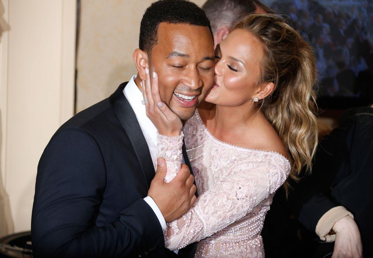 John Legend and Chrissy Teigen at 2015 Golden Globes