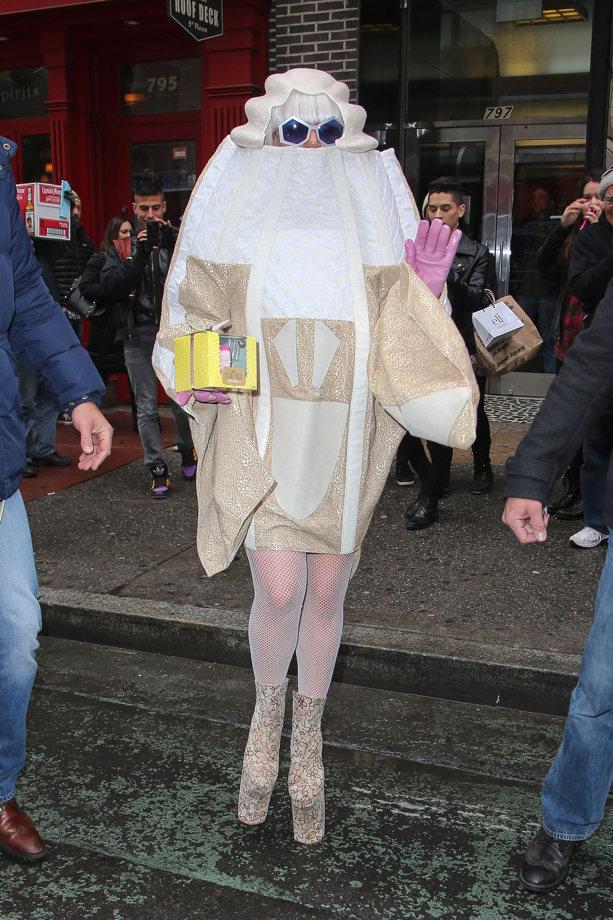 Lady Gaga spotted holding a little gift box on her 28th birthday in New York City