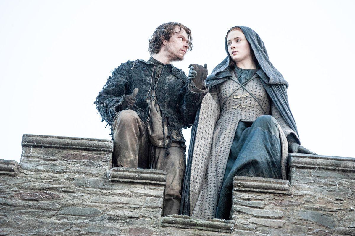 Alfie Allen as Theon Greyjoy/Reek, Sophie Turner as Sansa Stark