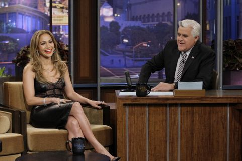 THE TONIGHT SHOW WITH JAY LENO -- Episode 4593 -- Pictured: (l-r) Actress Jennifer Lopez during an interview with host Jay Leno on January 13, 2014 -- (Photo by: Paul Drinkwater/NBC/NBCU Photo Bank via Getty Images)