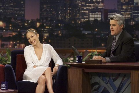 THE TONIGHT SHOW WITH JAY LENO -- Episode 1896 -- Pictured: (l-r) Actress/singer Jennifer Lopez during an interview with host Jay Leno on August 18, 2000 -- (Photo by: Paul Drinkwater/NBC/NBCU Photo Bank via Getty Images)