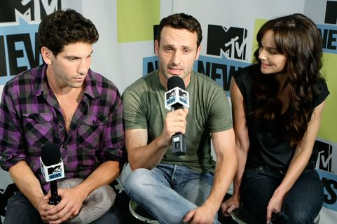 SAN DIEGO - JULY 22:  (L to R) Actor Jon Bernthal, actor Andrew Lincoln and actress Sarah Wayne Callies at the MySpace & MTV Tower at Comic Con on July 22, 2010 in San Diego, California.  (Photo by Jerod Harris/Getty Images for MySpace)