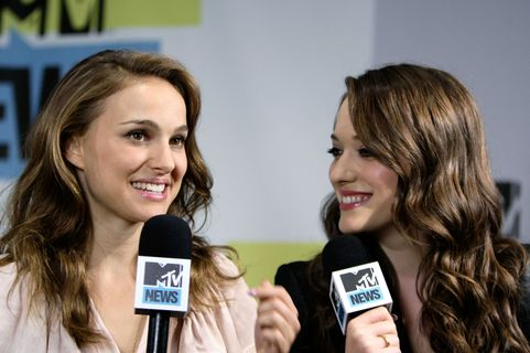 SAN DIEGO - JULY 24: Actress (L) Natalie Portman and actress Kat Dennings in the MySpace And MTV Tower During Comic-Con 2010 - Day 3 San Diego on July 24, 2010 in San Diego, California.  (Photo by Jerod Harris/Getty Images for MySpace)