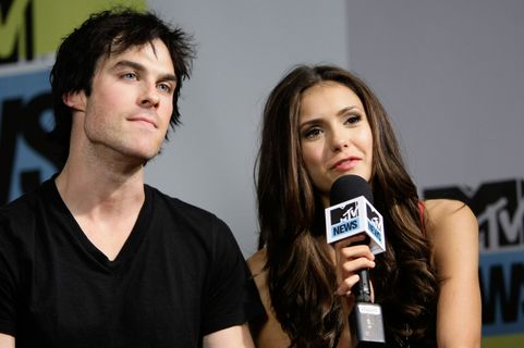 SAN DIEGO - JULY 24: Actor Ian Somerhalder and actress Nina Dobrev in the MySpace And MTV Tower During Comic-Con 2010 - Day 3 San Diego on July 24, 2010 in San Diego, California.  (Photo by Jerod Harris/Getty Images for MySpace)