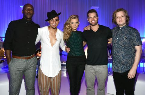 SAN DIEGO, CA - JULY 25:  (L-R) Actors Mahershala Ali, Evan Ross, Natalie Dormer, Wes Chatham, and Elden Henson attend Samsung and Lionsgate premiere of the first official teaser trailer for The Hunger Games: Mockingjay - Part 1 during Comic-Con International 2014 on July 25, 2014 in San Diego, California.  (Photo by Michael Buckner/Getty Images for Samsung)