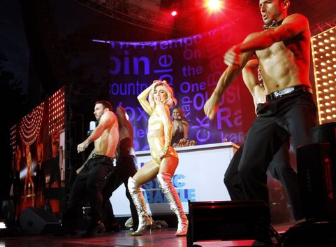 NEW YORK, NY - JULY 13:  Julianne Hough competes during the Lip Sync Battle Live at Central Park SummerStage on July 13, 2015 in New York City.  (Photo by Donna Ward/WireImage)