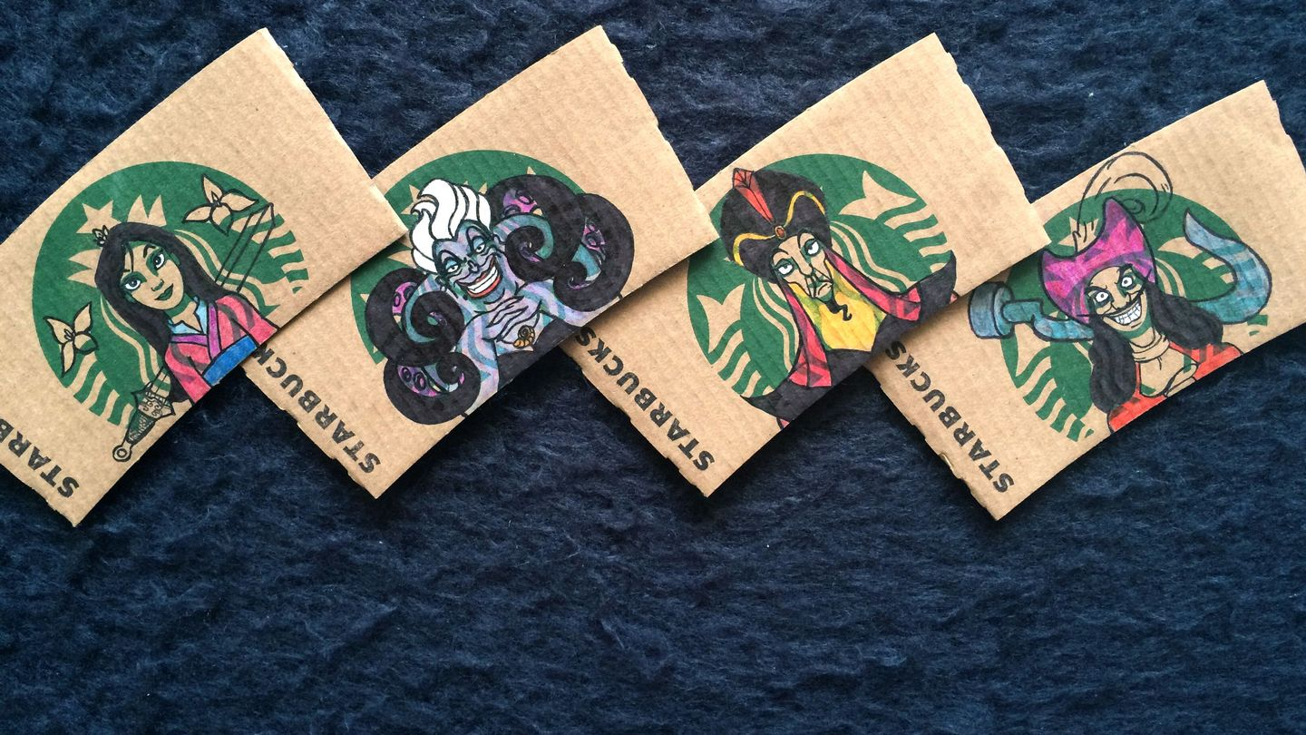 See 16 Starbucks Sleeves Transformed Into Disney Characters