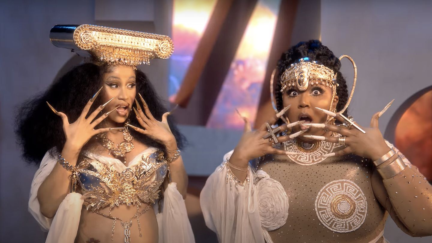 Lizzo And Cardi B Glitter As Golden Muses In Epic 'Rumors' Video thumbnail