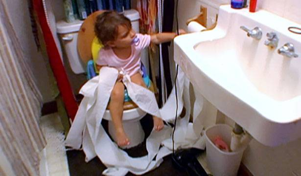 Sophia makes a mess in the bathroom.