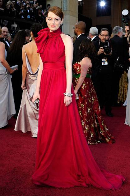 Emma Stone rocking red at the 2012 Oscars.