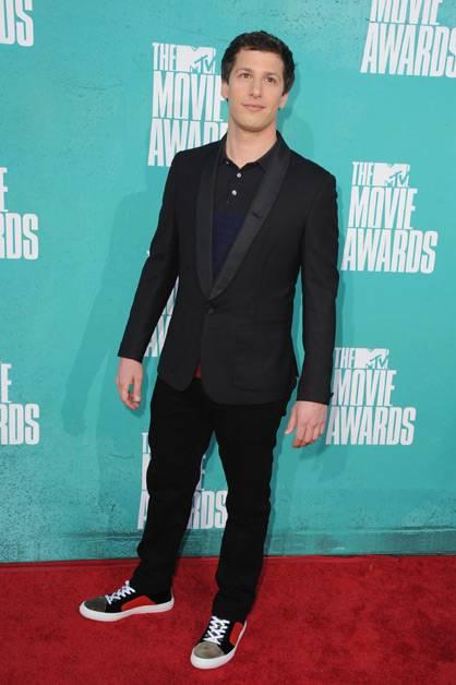 Andy Samberg arrives at the 2012 MTV Movie Awards.