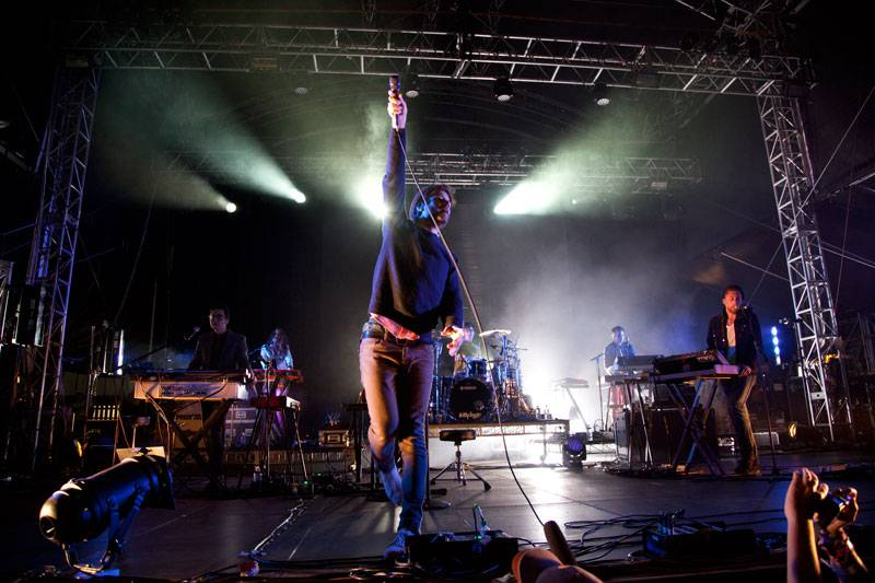 Passion Pit performing live onstage at 'Parklife 2012' in Centennial Park, Sydney on September 30, 2012.
