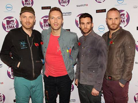 Coldplay arrive at the 2011 MTV EMA.