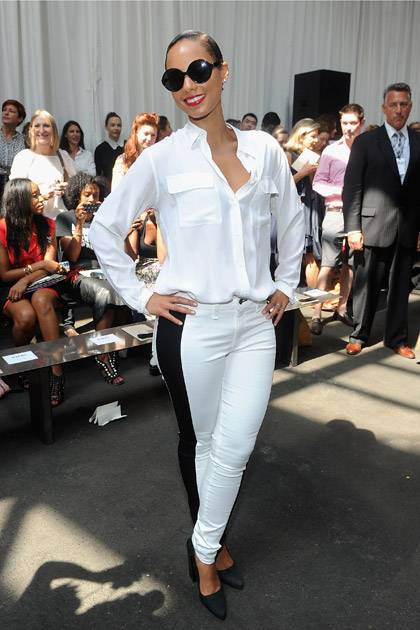 Alicia Keys attends the Edun show during Spring 2013 Mercedes-Benz Fashion Week at Skylight at Moynihan Station on September 8, 2012 in New York City.