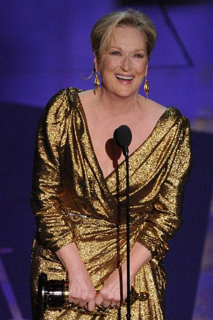 Meryl Streep wins 'Best actress in a leading role' for her portrayal of 'The Iron Lady'.