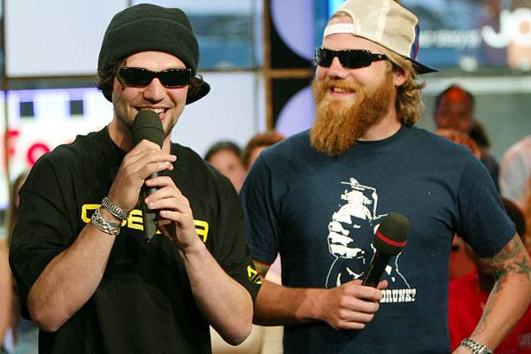 Bam Margera and Dunn appear on 'TRL' on April 23, 2004.