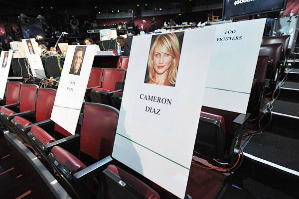 Jason Segel, Cameron Diaz and the Foo Fighter's seat cards at the Gibson Amphitheatre before the 2011 MTV Movie Awards.