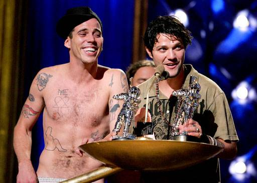 2006 - Steve-O and Bam Margera of the Jackass crew present the Moonmen