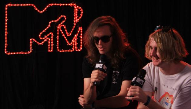 We chat to the boys from DZ DEATHRAYS backstage on day two of 'Splendour in the Grass 2012' at Belongil Fields, Byron Bay - 28 July, 2012.