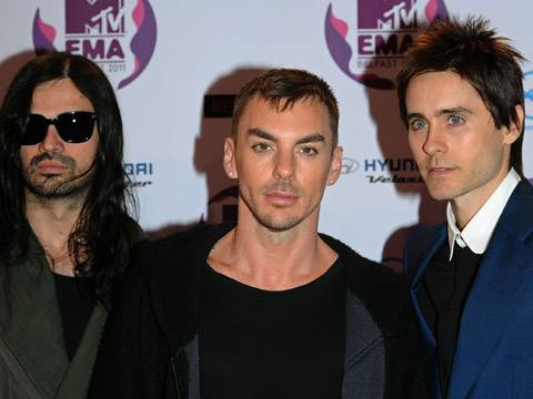 30 Seconds To Mars arrive at the 2011 MTV EMA.