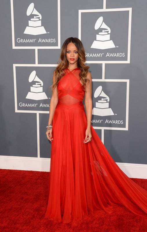 Rihanna on the 2013 Grammy Awards red carpet.
