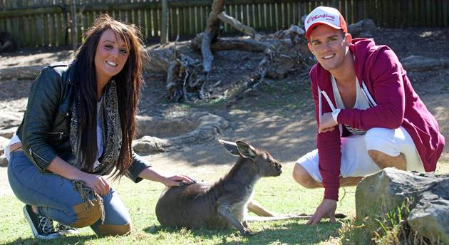 Our gorgeous Geordies with a cuddly kangaroo.
