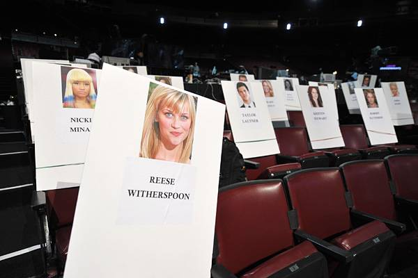 Nicki Minaj and Reese Witherspoon's seat cards at the Gibson Amphitheatre before the 2011 MTV Movie Awards.