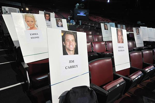 Emma Stone, Jim Carrey and Chelsea Handler's seat cards at the Gibson Amphitheatre before the 2011 MTV Movie Awards.
