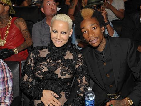 Amber Rose and Wiz Khalifa photographed backstage at the 2012 MTV Video Music Awards in Los Angeles.