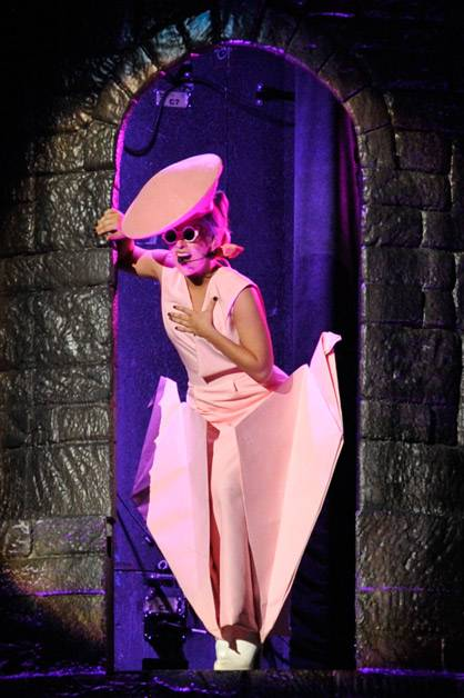 Lady Gaga performing live on stage at the 'Born This Way Ball'.