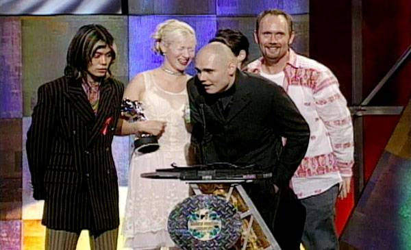 1996 - James Iha, D'arcy Wretzky, Billy Corgan and Jimmy Chamberlin of The Smashing Pumpkins clean up in '96 with five Moonmen for Mellon Collie And The Infinite Sadness.