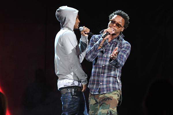 Lupe Fiasco and Trey Songz photographed while rehearsing their song 'Out Of My Head' from Lupe's album 'Lasers' for their performance at the 2011 MTV Movie Awards.