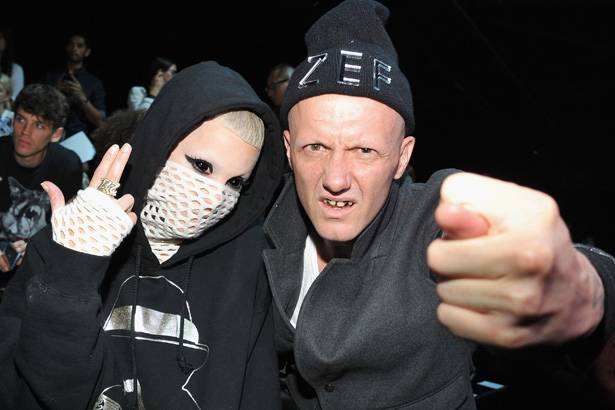 Yolandi Visser and Ninja of Die Antwoord attend the Alexander Wang show during Spring 2013 Mercedes-Benz Fashion Week at Pier 94 on September 8, 2012 in New York City.