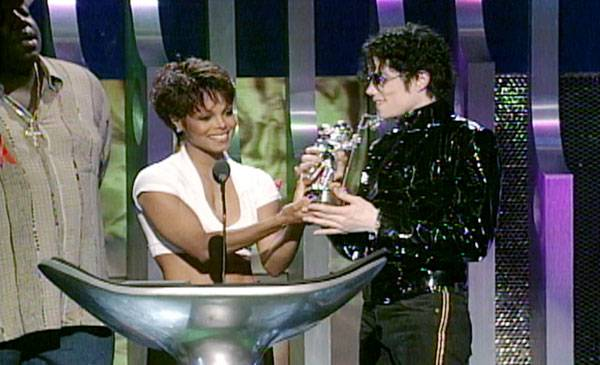 """1995 - Janet Jackson shares the award for Best Dance Video (""""Scream"""") with her brother, Michael."""
