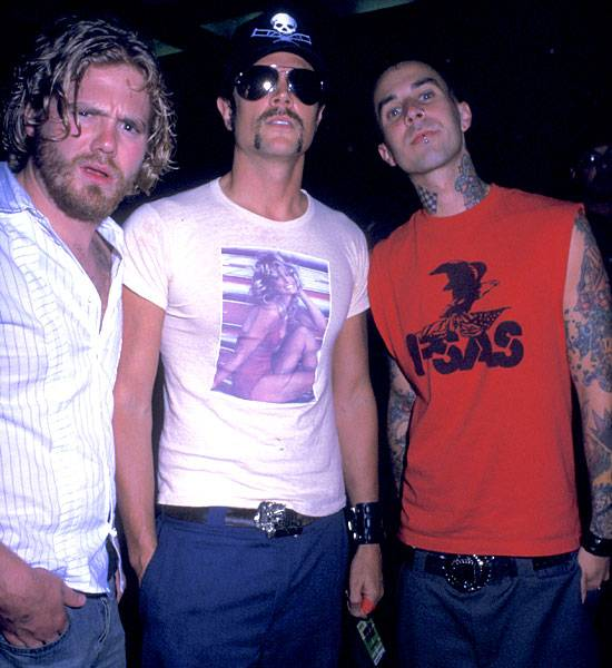 Ryan Dunn, Johnny Knoxville and Travis Barker on August 29, 2002.