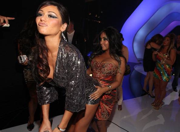 Jersey Shore BFF's J-Woww and Snookie playing around at the 2011 MTV Video Music Awards.