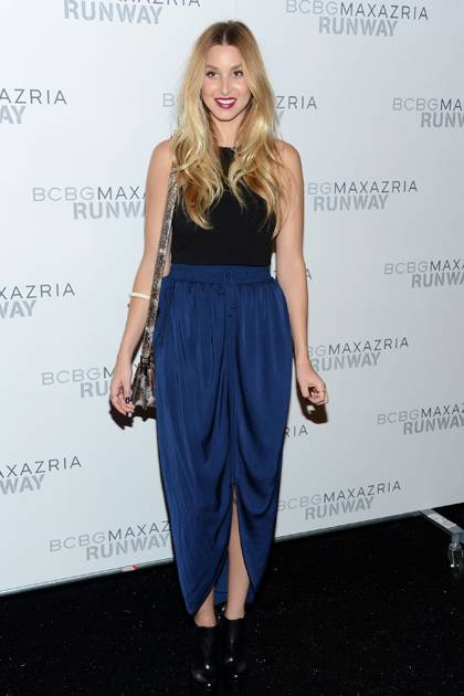Whitney Port poses backstage at the BCBGMAXAZRIA Spring 2013 fashion show during Mercedes-Benz Fashion Week at The Theatre at Lincoln Center on September 6, 2012 in New York City.