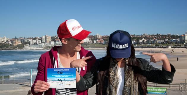 Our Geordie beach babes flash their Bondi souvenirs.