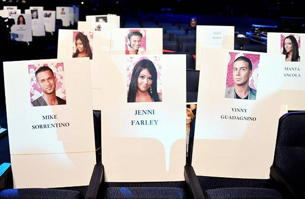 Jersey Shore cast 2011 VMA seating cards!