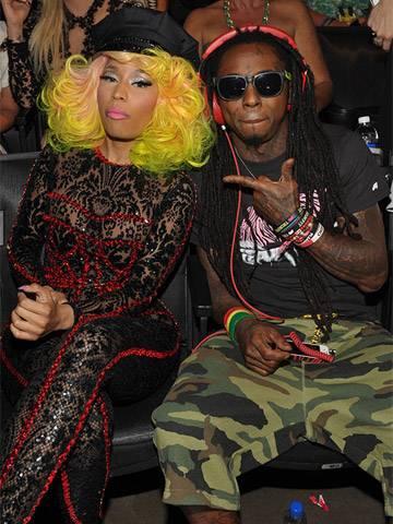 Nicki Minaj and Lil Wayne photographed backstage at the 2012 MTV Video Music Awards in Los Angeles.