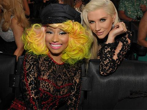 Nicki Minaj and Ke$ha photographed backstage at the 2012 MTV Video Music Awards in Los Angeles.