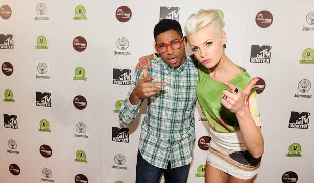 MTV VJ's Keiynan Lonsdale and Kate Peck at MTV Winter at the Plaza Ballroom in Melbourne, 19 July 2012.