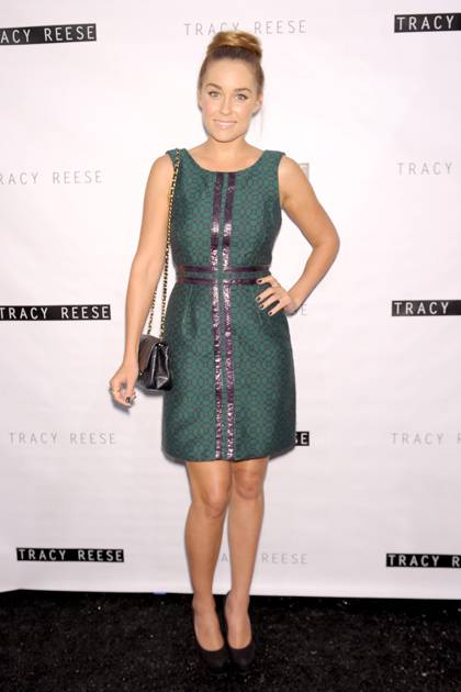 Lauren Conrad poses backstage at the Tracy Reese Spring 2013 fashion show during Mercedes-Benz Fashion Week at The Studio at Lincoln Center on September 9, 2012 in New York City.